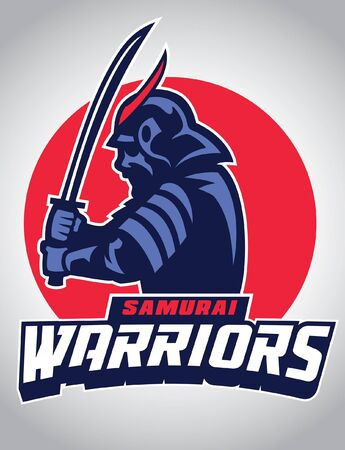 samurai warrior with armor and hold the sword Illustration