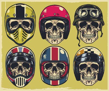 set of skull motorcycle in various helmet