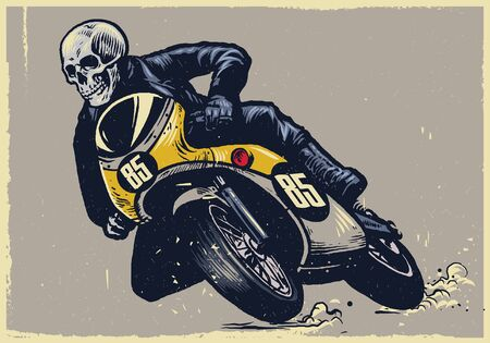 hand drawn skull riding sport motorcycle