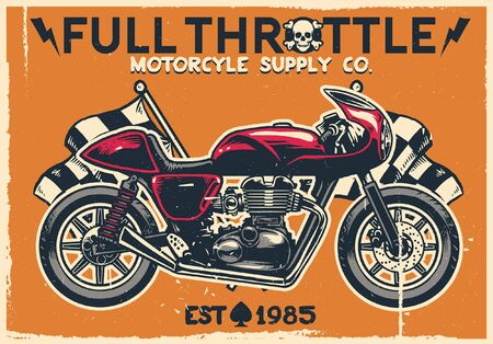 vintage textured poster design of cafe racer motorcycle