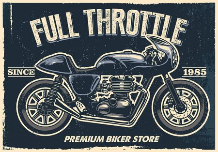 vintage textured design of cafe racer motorcycle