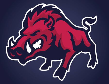 angry wild hogs mascot Illustration