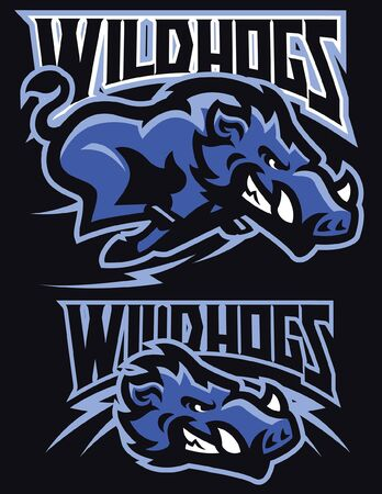 set mascot of wild hogs Ilustrace