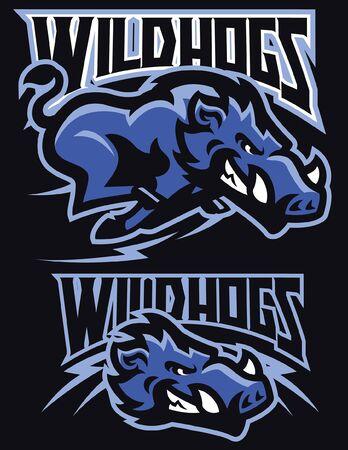 set mascot of wild hogs Illustration