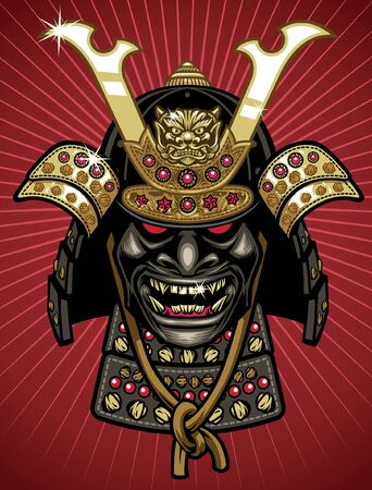 head of samurai warrior helmet 일러스트