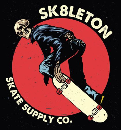 hand drawn skull playing skateboard