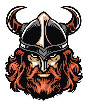 cabeza de guerrero vikingo duro