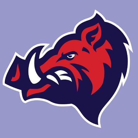 head mascot of wild boar Illustration