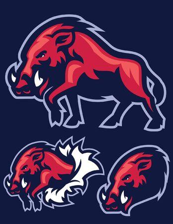 set of wild boar mascot Illustration