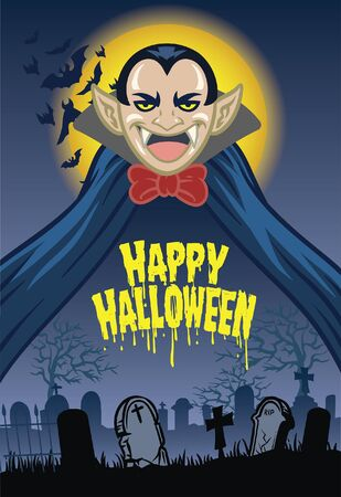halloween design with dracula in cartoon style