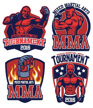 set of badges of MMA concept 일러스트
