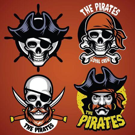 set of skull pirate badge  イラスト・ベクター素材