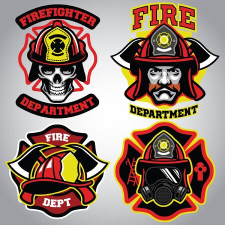 set of fire fighter badge