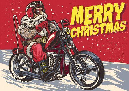 le père noël chevauchant la moto chopper dans un style vintage