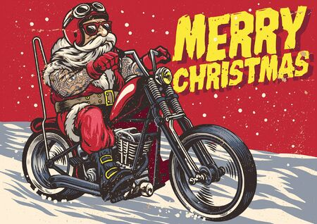 santa claus riding the chopper motorcycle in vintage style