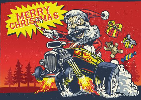 santa claus riding the hot rod car in hand drawn vintage style Иллюстрация