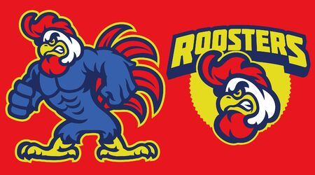 set of muscle rooster mascot