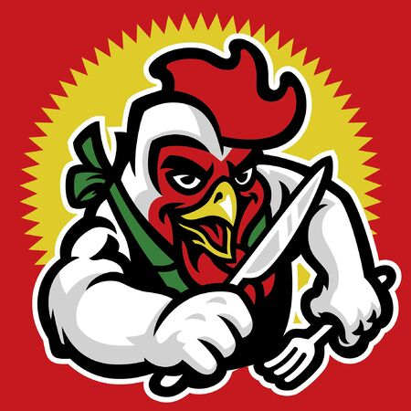 mascot of chicken hold the silverware