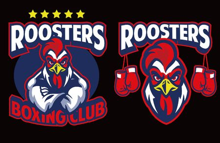set of rooster boxing mascot