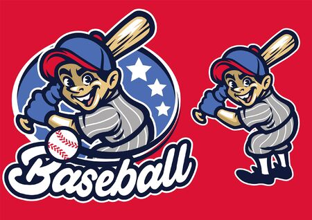 baseball mascot set in cartoon Иллюстрация