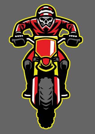skull of motocross design Illustration