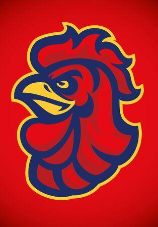 disegno mascotte testa di gallo rosso