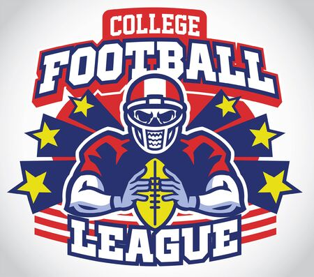 american football design with skull player Ilustrace