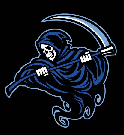 skull of grim reaper hold the sickle 向量圖像