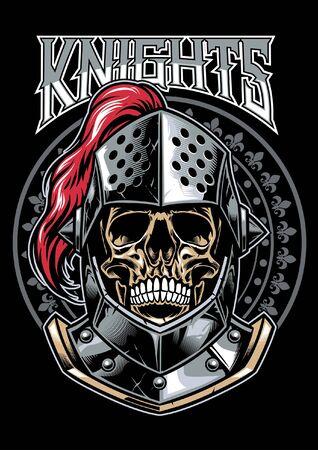 Cráneo de guerrero caballero en diseño de estilo de camiseta