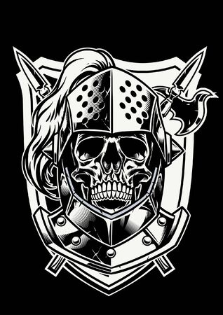 skull of knight warrior in black and white