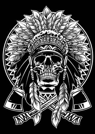 cráneo de guerrero indio Ilustración de vector
