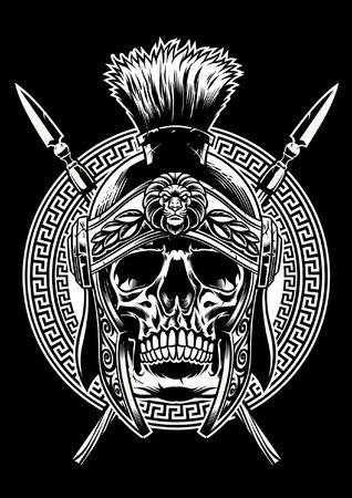 black and white skull roman warrior Stock fotó - 129792766