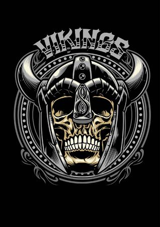 cráneo de guerrero vikingo en estilo de diseño de camiseta