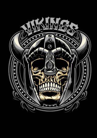 teschio di guerriero vichingo in stile design t-shirt