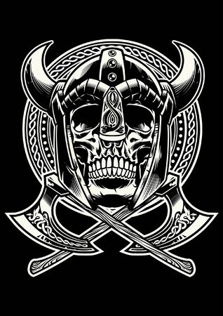 black and white skull viking warrior Ilustracja