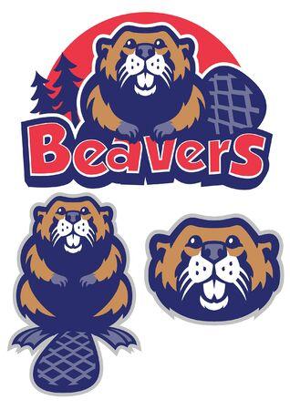 conjunto de castor en estilo mascota deportiva Ilustración de vector