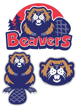 set of beaver in sport mascot style  イラスト・ベクター素材
