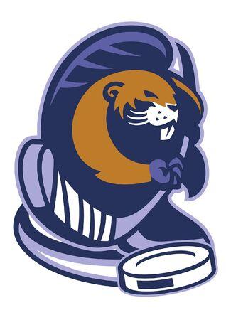 beaver mascot of ice hockey Illustration
