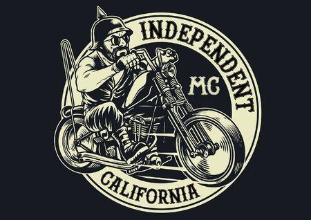 Insigne de club de moto avec homme chevauchant une moto chopper Vecteurs