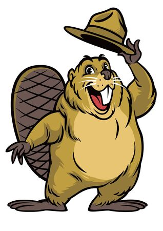 beaver mascot saluting by lifting the hat