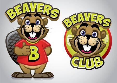cartoon of beaver set