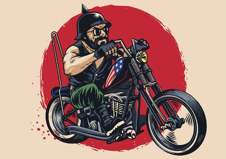 hand draw illustration of man riding chopper motorcycle Ilustração