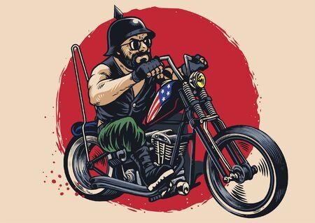 illustration de dessin à la main d'un homme chevauchant une moto chopper