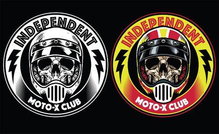 motorcycle style badges of skull wearing helmet