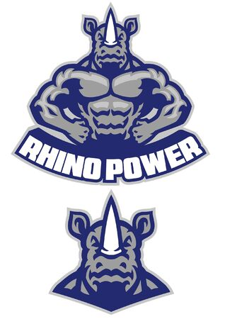 muscle rhino mascot set 向量圖像