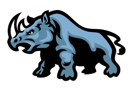 angry rhino mascot Illustration