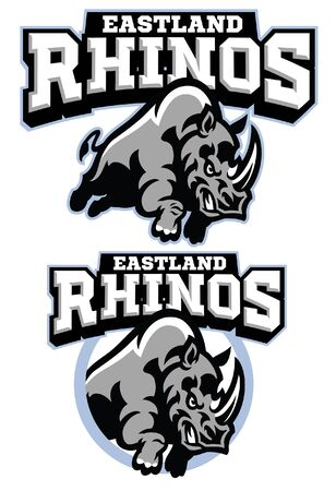 set of rhino mascot Illustration