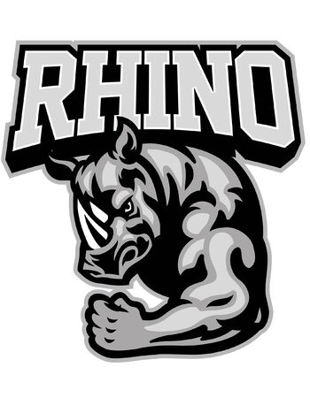 rhino mascot show his body Illustration