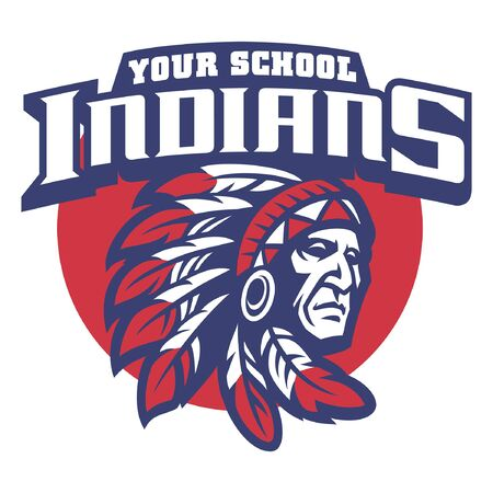 school mascot style of indian chief 向量圖像