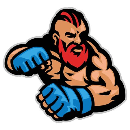 mascot of mma fighter in ready pose
